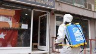 Pendik'te berber ve kuaförler dezenfekte ediliyor