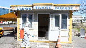 İlçe Genelinde Taksi Durakları Dezenfekte Edildi