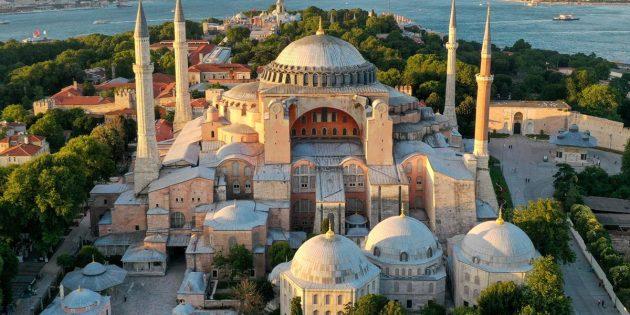 Ayasofya Camisine 87 yıl sonra ilk mahya asıldı